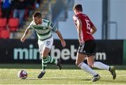22 September 2018; Brandon Miele of Shamrock Rovers in action against Eoin Toal of Derry City during the SSE Airtricity League Premier Division match between Derry City and Shamrock Rovers at the Brandywell Stadium in Derry. Photo by Oliver McVeigh/Sportsfile