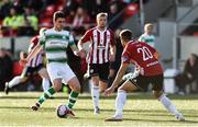 22 September 2018; Dylan Watts of Shamrock Rovers in action against Darren Cole of Derry City during the SSE Airtricity League Premier Division match between Derry City and Shamrock Rovers at the Brandywell Stadium in Derry. Photo by Oliver McVeigh/Sportsfile