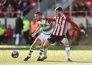 22 September 2018; Brandon Miele of Shamrock Rovers in action against Jamie McDonagh of Derry City during the SSE Airtricity League Premier Division match between Derry City and Shamrock Rovers at the Brandywell Stadium in Derry. Photo by Oliver McVeigh/Sportsfile