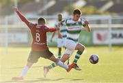 22 September 2018; Dylan Watts of Shamrock Rovers in action against Rory Hale of Derry City during the SSE Airtricity League Premier Division match between Derry City and Shamrock Rovers at the Brandywell Stadium, in Derry Photo by Oliver McVeigh/Sportsfile