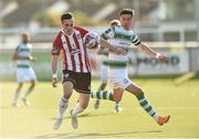 22 September 2018; Aaron McEneff of Derry City in action against Ronan Finn of Shamrock Rovers during the SSE Airtricity League Premier Division match between Derry City and Shamrock Rovers at the Brandywell Stadium, in Derry Photo by Oliver McVeigh/Sportsfile