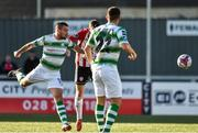 22 September 2018; Brandon Miele of Shamrock Rovers wins his header on goal against Eoin Toal of Derry City during the SSE Airtricity League Premier Division match between Derry City and Shamrock Rovers at the Brandywell Stadium, in Derry. Photo by Oliver McVeigh/Sportsfile
