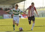 22 September 2018; Brandon Kavanagh of Shamrock Rovers in action against Ally Roy of Derry City during the SSE Airtricity League Premier Division match between Derry City and Shamrock Rovers at the Brandywell Stadium in Derry. Photo by Oliver McVeigh/Sportsfile