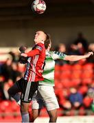 22 September 2018; Rory Hale of Derry City in action against Dylan Watts of Shamrock Rovers during the SSE Airtricity League Premier Division match between Derry City and Shamrock Rovers at the Brandywell Stadium in Derry. Photo by Oliver McVeigh/Sportsfile