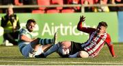 22 September 2018; Ronan Hale of Derry City in action against Greg Bolger of Shamrock Rovers during the SSE Airtricity League Premier Division match between Derry City and Shamrock Rovers at the Brandywell Stadium in Derry. Photo by Oliver McVeigh/Sportsfile