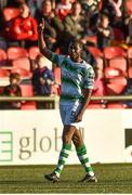 22 September 2018; Dan Carr of Shamrock Rovers celebrates after scoring his side's first goal during the SSE Airtricity League Premier Division match between Derry City and Shamrock Rovers at the Brandywell Stadium in Derry. Photo by Oliver McVeigh/Sportsfile