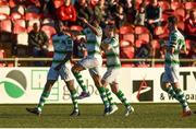 22 September 2018; Dan Carr of Shamrock Rovers, left, celebrates with team-mates after scoring his side's first goal during the SSE Airtricity League Premier Division match between Derry City and Shamrock Rovers at the Brandywell Stadium in Derry. Photo by Oliver McVeigh/Sportsfile