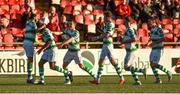22 September 2018; Dan Carr of Shamrock Rovers, second from left, celebrates with team-mates after scoring his side's first goal during the SSE Airtricity League Premier Division match between Derry City and Shamrock Rovers at the Brandywell Stadium in Derry. Photo by Oliver McVeigh/Sportsfile