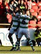 22 September 2018; Dan Carr of Shamrock Rovers, left, celebrates with team-mate Greg Bolger after scoring his side's first goal during the SSE Airtricity League Premier Division match between Derry City and Shamrock Rovers at the Brandywell Stadium in Derry. Photo by Oliver McVeigh/Sportsfile