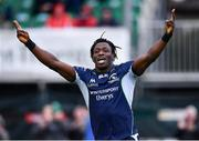 22 September 2018; Niyi Adeolokun of Connacht celebrates after scoring his side's third try during the Guinness PRO14 Round 4 match between Connacht and Scarlets at the Sportsground in Galway. Photo by Seb Daly/Sportsfile