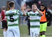 22 September 2018; Lee Grace, left, and Aaron Greene of Shamrock Rovers celebrate after the SSE Airtricity League Premier Division match between Derry City and Shamrock Rovers at the Brandywell Stadium, in Derry. Photo by Oliver McVeigh/Sportsfile