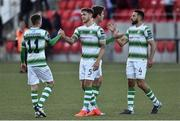 22 September 2018; Shamrock Rovers players, from left, Sean Kavanagh, Lee Grace, Ronan Finn and Roberto Lopes celebrate after the SSE Airtricity League Premier Division match between Derry City and Shamrock Rovers at the Brandywell Stadium, in Derry. Photo by Oliver McVeigh/Sportsfile