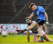 22 September 2018; Killian Kilkelly of Westport in action against Aidan O'Shea of Breaffy during the Mayo County Senior Club Football Championship Quarter-Final match between Westport and Breaffy at Elvery's MacHale Park in Mayo. Photo by Matt Browne/Sportsfile