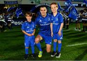 22 September 2018; Matchday mascots 7 year old James Brady, from Greystones, Co. Wicklow, and 8 year old Paul Hartnett, from Blackrock, Dublin, with Leinster captain Jonathan Sexton ahead of the Guinness PRO14 Round 4 match between Leinster and Edinburgh at RDS Arena in Dublin. Photo by Ramsey Cardy/Sportsfile