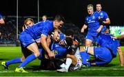 22 September 2018; Fergus McFadden of Leinster dives over to score his side's first try with the help of Jonathan Sexton during the Guinness PRO14 Round 4 match between Leinster and Edinburgh at the RDS Arena in Dublin. Photo by Ramsey Cardy/Sportsfile