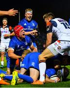 22 September 2018; Josh van der Flier of Leinster celebrates his side's first try during the Guinness PRO14 Round 4 match between Leinster and Edinburgh at the RDS Arena in Dublin. Photo by Ramsey Cardy/Sportsfile