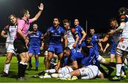 22 September 2018; James Lowe of Leinster reacts to a decision by referee Dan Jones during the Guinness PRO14 Round 4 match between Leinster and Edinburgh at the RDS Arena in Dublin. Photo by David Fitzgerald/Sportsfile
