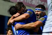 22 September 2018; James Lowe of Leinster celebrates with team-mates Luke McGrath, centre, and Fergus McFadden, right, after scoring his side's second try during the Guinness PRO14 Round 4 match between Leinster and Edinburgh at the RDS Arena in Dublin. Photo by Ramsey Cardy/Sportsfile