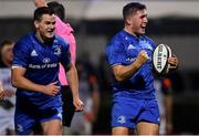 22 September 2018; Jordan Larmour of Leinster celebrates after scoring his side's third try during the Guinness PRO14 Round 4 match between Leinster and Edinburgh at the RDS Arena in Dublin. Photo by David Fitzgerald/Sportsfile