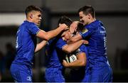 22 September 2018; Jordan Larmour of Leinster celebrates  with team mates Jonathan Sexton, right, Garry Ringrose, left, and Luke McGrath after scoring his side's third try during the Guinness PRO14 Round 4 match between Leinster and Edinburgh at the RDS Arena in Dublin. Photo by David Fitzgerald/Sportsfile