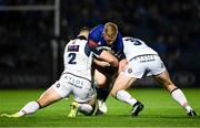 22 September 2018; James Tracy of Leinster is tackled by Ross Ford, left, and Simon Berghan of Edinburgh during the Guinness PRO14 Round 4 match between Leinster and Edinburgh at the RDS Arena in Dublin. Photo by David Fitzgerald/Sportsfile