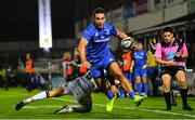 22 September 2018; James Lowe of Leinster beats the tackle by Sean Kennedy of Edinburgh during the Guinness PRO14 Round 4 match between Leinster and Edinburgh at the RDS Arena in Dublin. Photo by Ramsey Cardy/Sportsfile