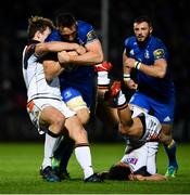 22 September 2018; Jack Conan of Leinster is tackled by Chris Dean of Edinburgh during the Guinness PRO14 Round 4 match between Leinster and Edinburgh at the RDS Arena in Dublin. Photo by David Fitzgerald/Sportsfile