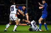 22 September 2018; Jack Conan of Leinster is tackled by Chris Dean , left, and Juan Pablo Socino of Edinburgh during the Guinness PRO14 Round 4 match between Leinster and Edinburgh at the RDS Arena in Dublin. Photo by David Fitzgerald/Sportsfile