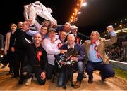 22 September 2018; The winning connections of Ballyanne Sim including trainer James Robinson and owner Eamon Cleary after winning the 2018 Irish Greyhound Derby at Shelbourne Park in Dublin. Photo by Harry Murphy/Sportsfile