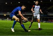 22 September 2018; Garry Ringrose of Leinster scores his side's fifth try during the Guinness PRO14 Round 4 match between Leinster and Edinburgh at the RDS Arena in Dublin. Photo by David Fitzgerald/Sportsfile