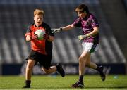 23 September 2018; Josh Murphy of Naomh Padraig, Co Mayo, in action against Kieran Aldridge, of Leitrim Gaels, Co Leitrim, during the Littlewoods Ireland Connacht Provincial Days Go Games in Croke Park. This year over 6,000 boys and girls aged between six and eleven represented their clubs in a series of mini blitzes and – just like their heroes – got to play in Croke Park. For exclusive content and behind the scenes action follow Littlewoods Ireland on Facebook, Instagram, Twitter and https://blog.littlewoodsireland.ie/ Photo by Piaras Ó Mídheach/Sportsfile