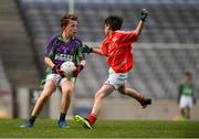 23 September 2018; Josh McNamee of Leitrim Gaels, Co Leitrim, left, in action against Ewan Loftus of Ballintubber, Co Mayo, during the Littlewoods Ireland Connacht Provincial Days Go Games in Croke Park. This year over 6,000 boys and girls aged between six and eleven represented their clubs in a series of mini blitzes and – just like their heroes – got to play in Croke Park. For exclusive content and behind the scenes action follow Littlewoods Ireland on Facebook, Instagram, Twitter and https://blog.littlewoodsireland.ie/ Photo by Piaras Ó Mídheach/Sportsfile