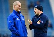 22 September 2018; Leinster senior coach Stuart Lancaster, left, in conversation with Edinburgh head coach Richard Cockerill ahead of the Guinness PRO14 Round 4 match between Leinster and Edinburgh at the RDS Arena in Dublin. Photo by Ramsey Cardy/Sportsfile