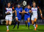 22 September 2018; Fergus McFadden, left, and Jordan Larmour of Leinster during the Guinness PRO14 Round 4 match between Leinster and Edinburgh at the RDS Arena in Dublin. Photo by Ramsey Cardy/Sportsfile