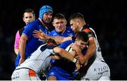 22 September 2018; Luke McGrath of Leinster is tackled by Ben Toolis, left, and James Johnstone of Edinburgh during the Guinness PRO14 Round 4 match between Leinster and Edinburgh at the RDS Arena in Dublin. Photo by Ramsey Cardy/Sportsfile