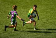 23 September 2018; Karl Murphy of Claregalway, Co Galway, in action against James Stenson of Leitrim Gales, Co Leitrim, during the Littlewoods Ireland Connacht Provincial Days Go Games in Croke Park. This year over 6,000 boys and girls aged between six and eleven represented their clubs in a series of mini blitzes and – just like their heroes – got to play in Croke Park. For exclusive content and behind the scenes action follow Littlewoods Ireland on Facebook, Instagram, Twitter and https://blog.littlewoodsireland.ie/ Photo by Piaras Ó Mídheach/Sportsfile