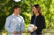 24 September 2018; Kildare footballer Jimmy Hyland is presented with his EirGrid U20 GAA Football All-Ireland Championship Player of The Year award by Valerie Hedin, External Communications Manager at EirGrid, at The Oval, Shelbourne Road, Ballsbridge, in Dublin. Photo by Piaras Ó Mídheach/Sportsfile