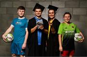 24 September 2018; In attendance, from left, Conor Kane of Maynooth University, Daire O'Connor of UCD, Niamh Farrelly of DCU and Megan Smyth-Lynch of IT Carlow during the Rustlers Third Level Season Launch at Campus Conference Centre, in FAI HQ, Dublin. Photo by David Fitzgerald/Sportsfile
