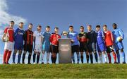 24 September 2018; In attendance are the Men's Colleges and Universities teams during the Rustlers Third Level Season Launch at Campus Conference Centre, in FAI HQ, Dublin. Photo by David Fitzgerald/Sportsfile