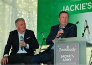 24 September 2018; Former Republic of Ireland players Ronnie Whelan, right, and Ray Houghton speaking with George Hamilton during the Goodbody Jackie's Army Squad Reunion at The K Club, Straffan, in Co. Kildare. Photo by Eóin Noonan/Sportsfile