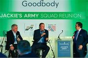 24 September 2018; Former Republic of Ireland players Ronnie Whelan, centre, and Ray Houghton, left, speaking with George Hamilton during the Goodbody Jackie's Army Squad Reunion at The K Club, Straffan, in Co. Kildare. Photo by Eóin Noonan/Sportsfile