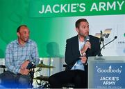 24 September 2018; Former Republic of Ireland players Jason McAteer, right, and Terry Phelan speaking to George Hamilton during the Goodbody Jackie's Army Squad Reunion at The K Club, Straffan, in Co. Kildare. Photo by Eóin Noonan/Sportsfile