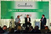 24 September 2018; Former Republic of Ireland players Terry Phelan, left, and Jason McAteer speaking to George Hamilton during the Goodbody Jackie's Army Squad Reunion at The K Club, Straffan, in Co. Kildare. Photo by Eóin Noonan/Sportsfile