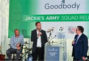 24 September 2018; Former Republic of Ireland players Jason McAteer, centre, and Terry Phelan, left, speaking to George Hamilton during the Goodbody Jackie's Army Squad Reunion at The K Club, Straffan, in Co. Kildare. Photo by Eóin Noonan/Sportsfile