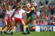 16 September 2018; Vikki Wall of Meath in action against Tyrone players, from left, Emma Mulgrew, Caoileann Conway, and Slaine McCarroll, during the TG4 All-Ireland Ladies Football Intermediate Championship Final match between Meath and Tyrone at Croke Park, Dublin. Photo by Piaras Ó Mídheach/Sportsfile