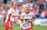 16 September 2018; Tyrone's Gemma Begley, right, and Emma Jane Gervin celebrate after the TG4 All-Ireland Ladies Football Intermediate Championship Final match between Meath and Tyrone at Croke Park, Dublin. Photo by Piaras Ó Mídheach/Sportsfile