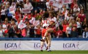16 September 2018; Gráinne Rafferty, left, and Emma Hegarty of Tyrone celebrate after the TG4 All-Ireland Ladies Football Intermediate Championship Final match between Meath and Tyrone at Croke Park, Dublin. Photo by Piaras Ó Mídheach/Sportsfile