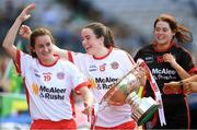 16 September 2018; Tyrone's Gráinne Rafferty, centre, and her team mates Emma Hegarty, left, and Laura Kane celebrate after the TG4 All-Ireland Ladies Football Intermediate Championship Final match between Meath and Tyrone at Croke Park, Dublin. Photo by Piaras Ó Mídheach/Sportsfile