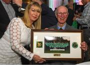 24 September 2018; Rachael Kane of Paddy Power presents Former Republic of Ireland manager Jack Charlton a framed photograph during the Goodbody Jackie's Army Squad Reunion at The K Club, Straffan, in Co. Kildare. Photo by Harry Murphy/Sportsfile