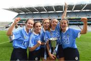 9 September 2018; Dublin players, from left, Eimear O'Riordan, Sinéad Nolan, Caragh Dawson, Emma Barron, and Aoife Walsh celebrate after the Liberty Insurance All-Ireland Premier Junior Camogie Championship Final match between Dublin and Kerry at Croke Park in Dublin. Photo by Piaras Ó Mídheach/Sportsfile